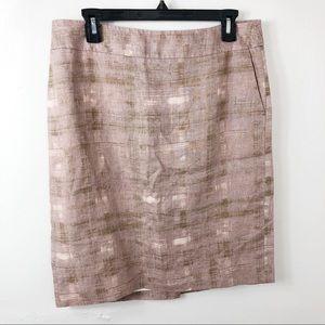 LOFT Brown Pink 100% Linen Pencil Skirt 8